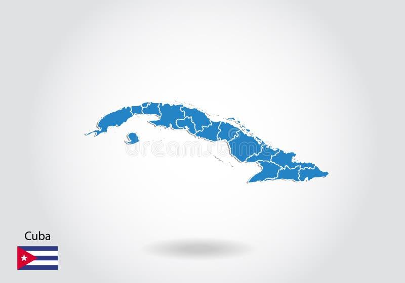 Progettazione della mappa di Cuba con stile 3D Mappa e bandiera nazionale blu della Cuba Mappa semplice di vettore con il contorn illustrazione vettoriale