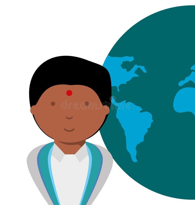 Progettazione della mappa di mondo e della gente illustrazione vettoriale