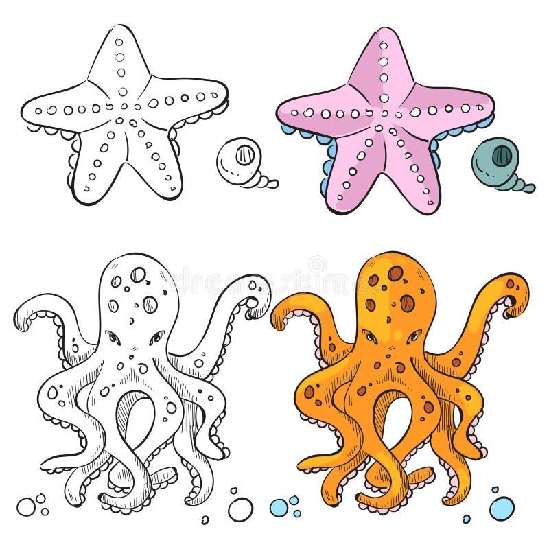 Progettazione della pagina di coloritura di vita dell'oceano Stelle marine e polipo royalty illustrazione gratis