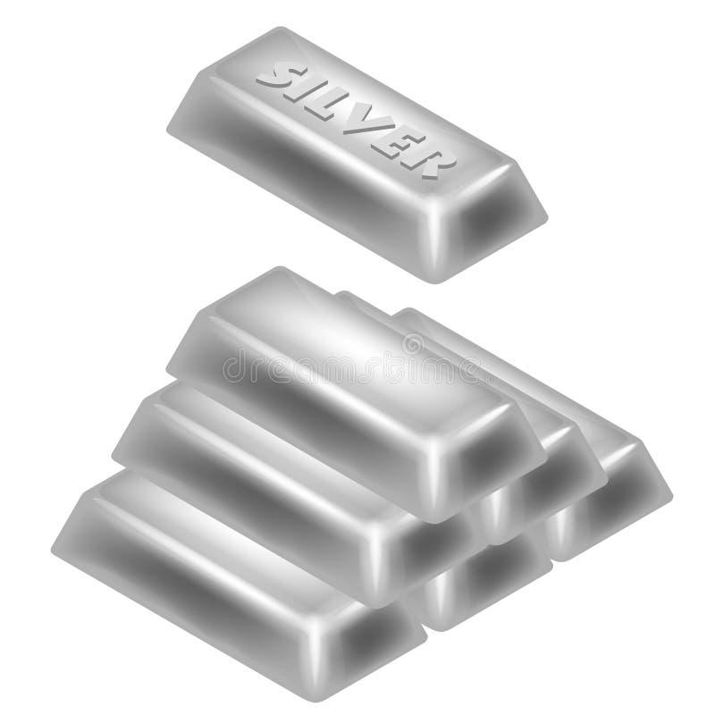 Progettazione della piramide 3D della barra d'argento isolata illustrazione vettoriale