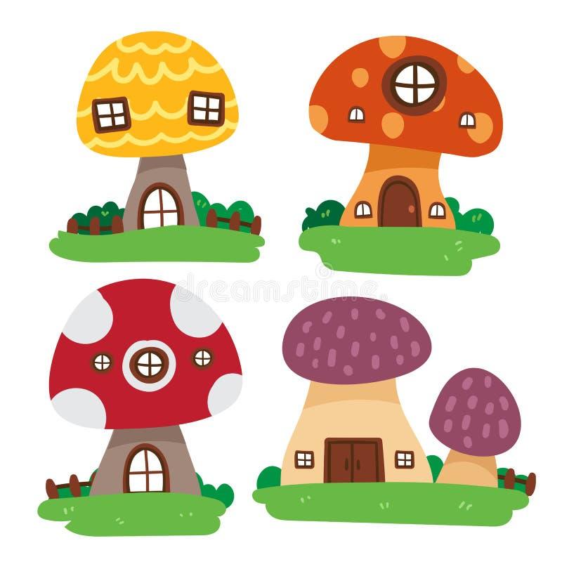 Progettazione della raccolta di vettore della casa del fungo illustrazione di stock