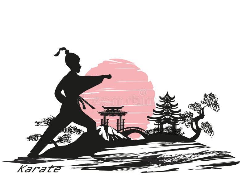 Progettazione della ragazza di karatè illustrazione vettoriale
