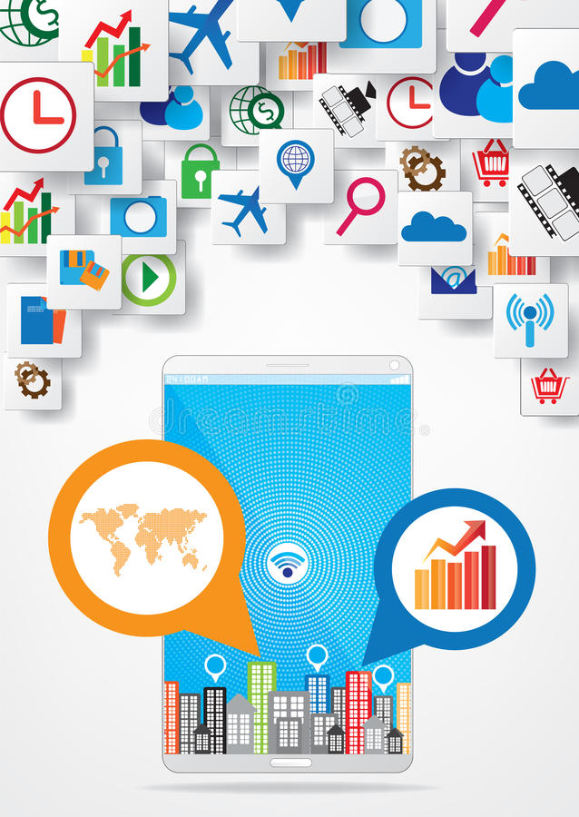 Download Progettazione Della Rete Di Comunicazione Illustrazione Vettoriale - Illustrazione di dispositivi, icona: 56885304