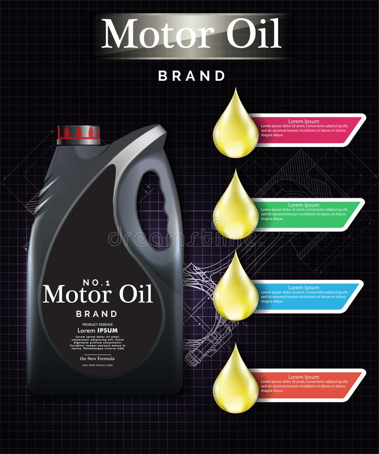 progettazione della scatola metallica dell'olio per motori che annuncia modello promozionale EPS10 royalty illustrazione gratis