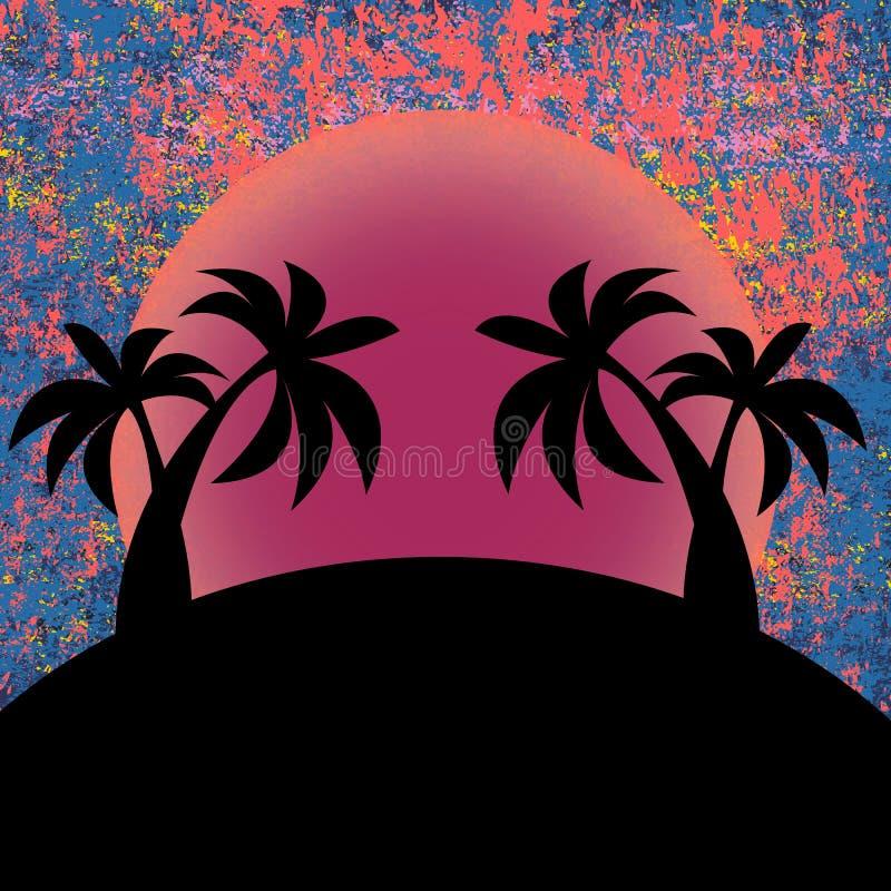 Progettazione della spiaggia di estate Progettazione della stampa del manifesto, illustrazione di vettore Tramonto tropicale Vaca illustrazione vettoriale