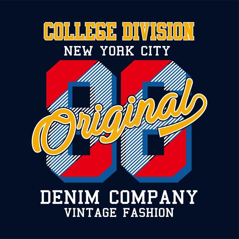 Progettazione della stampa di New York City per la maglietta ed altri usi illustrazione vettoriale