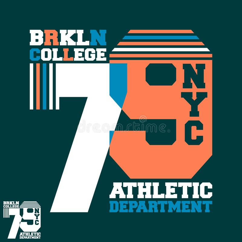Progettazione della stampa della maglietta dell'istituto universitario di Brooklyn NYC illustrazione di stock