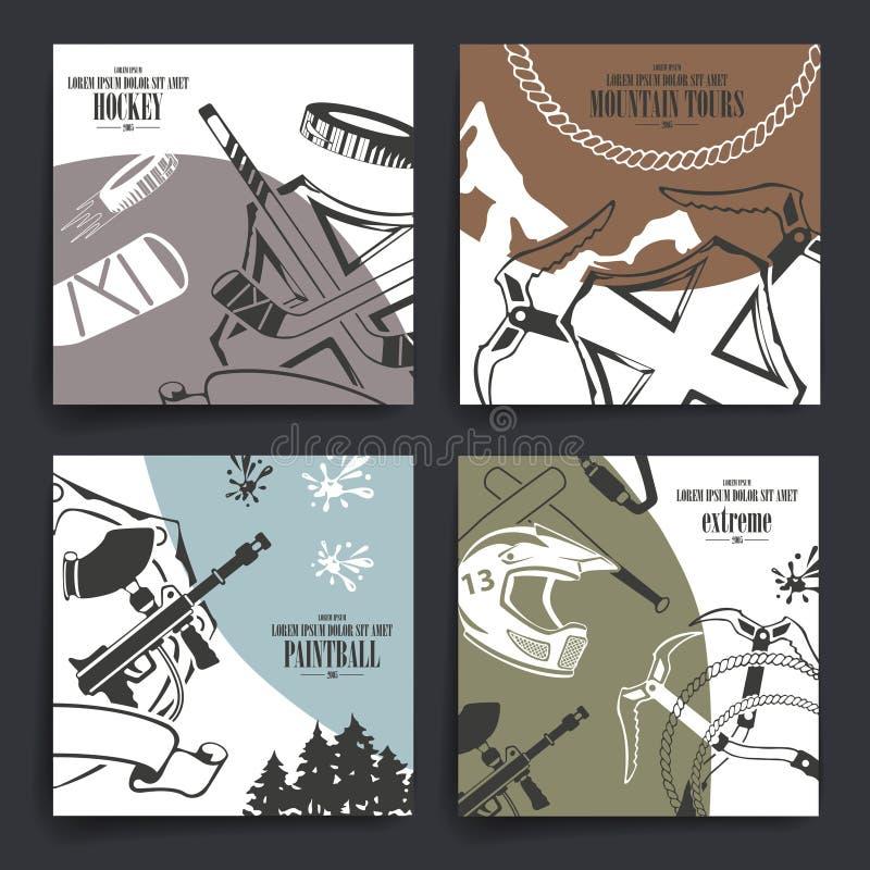 Progettazione delle alette di filatoio o dell'opuscolo Motociclo, hockey immagini stock