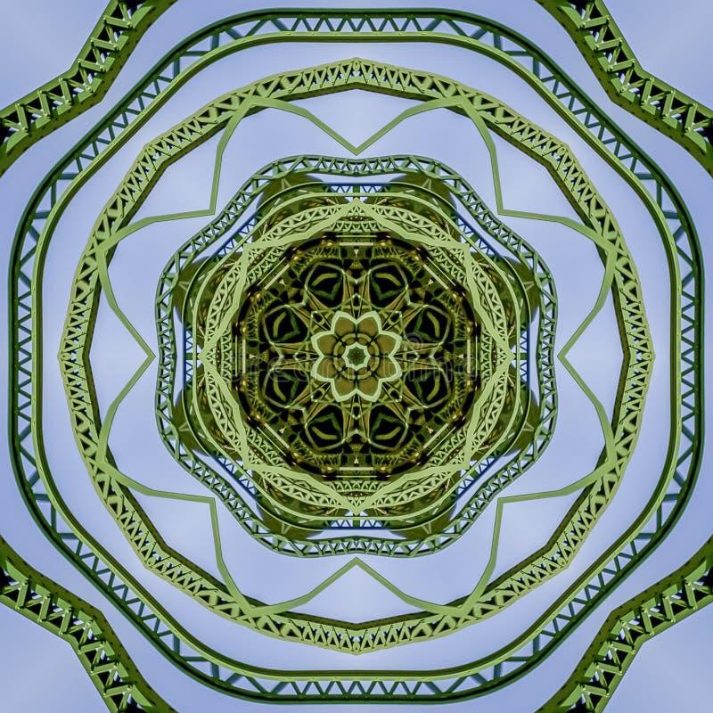 Progettazione delle barre di metallo di verde della circolare della struttura del quadrato creata facendo uso delle riflessioni i fotografia stock libera da diritti