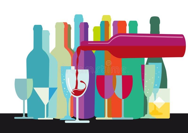 Progettazione delle bottiglie e di vetro di vino illustrazione vettoriale