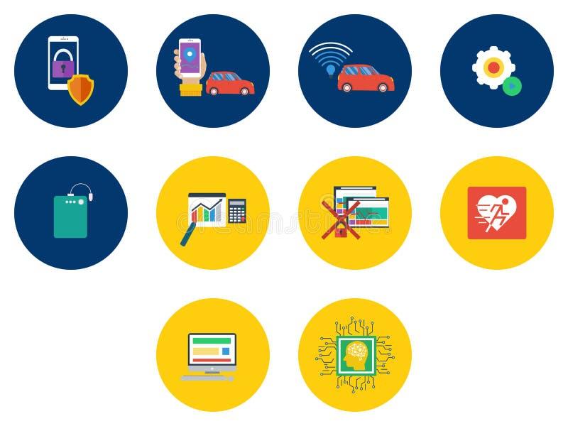 Progettazione delle icone di tecnologia royalty illustrazione gratis