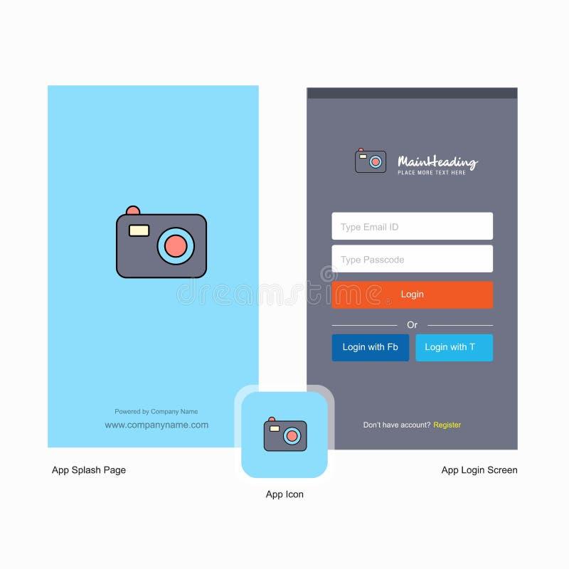 Progettazione dello schermo della spruzzata della macchina fotografica della società e della pagina di connessione con il modello illustrazione di stock