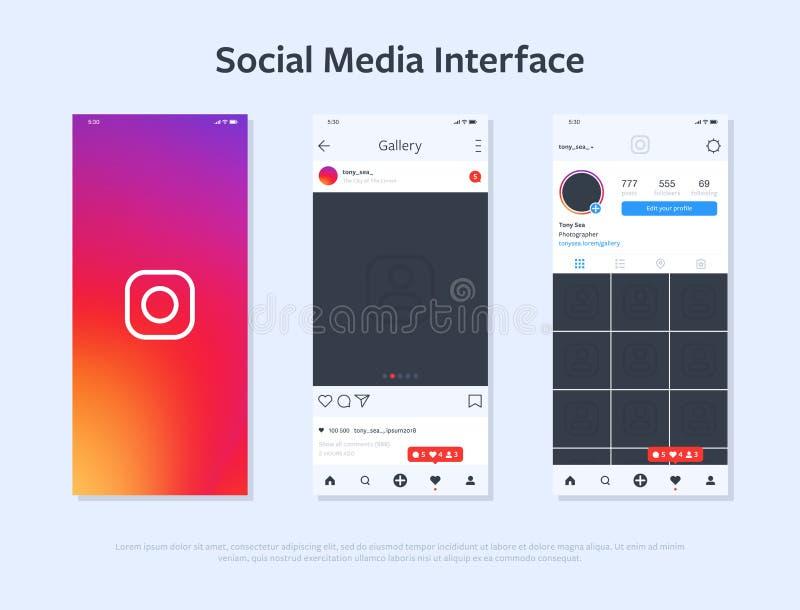 Progettazione dello smartphone con l'interfaccia dell'applicazione illustrazione di stock