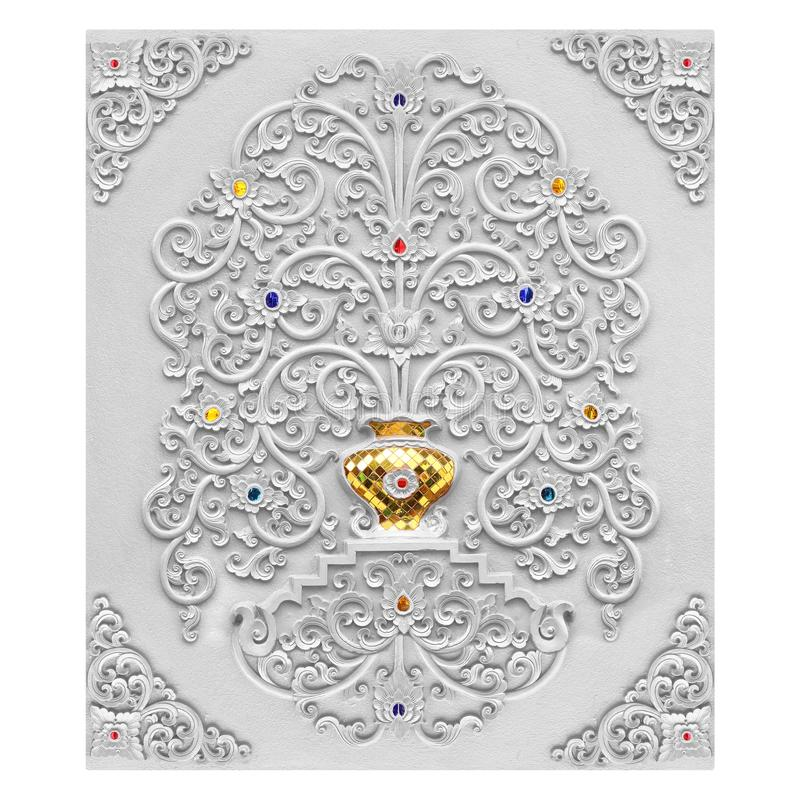 Progettazione dello stucco del nativo artistico decorativo di motivi floreali fotografia stock