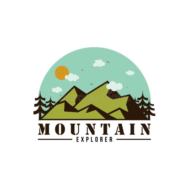 Progettazione di Adventure Logo Badge Vector Simple Flat dell'esploratore della montagna royalty illustrazione gratis