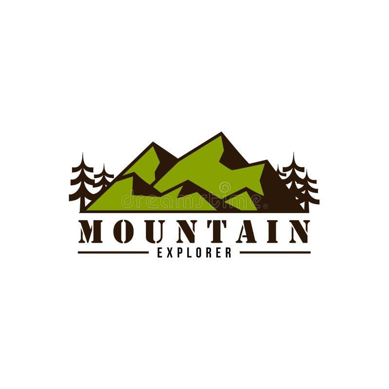 Progettazione di Adventure Logo Badge Vector Simple Flat dell'esploratore della montagna illustrazione vettoriale