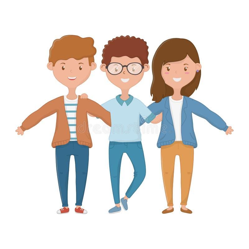 Progettazione di amicizia dei ragazzi e della ragazza illustrazione di stock