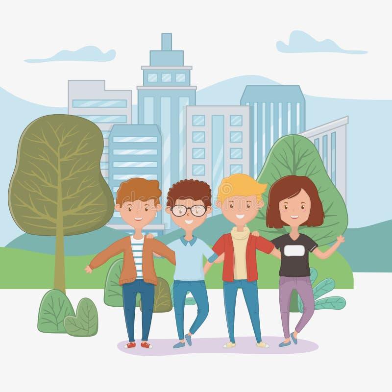 Progettazione di amicizia dei ragazzi e della ragazza illustrazione vettoriale