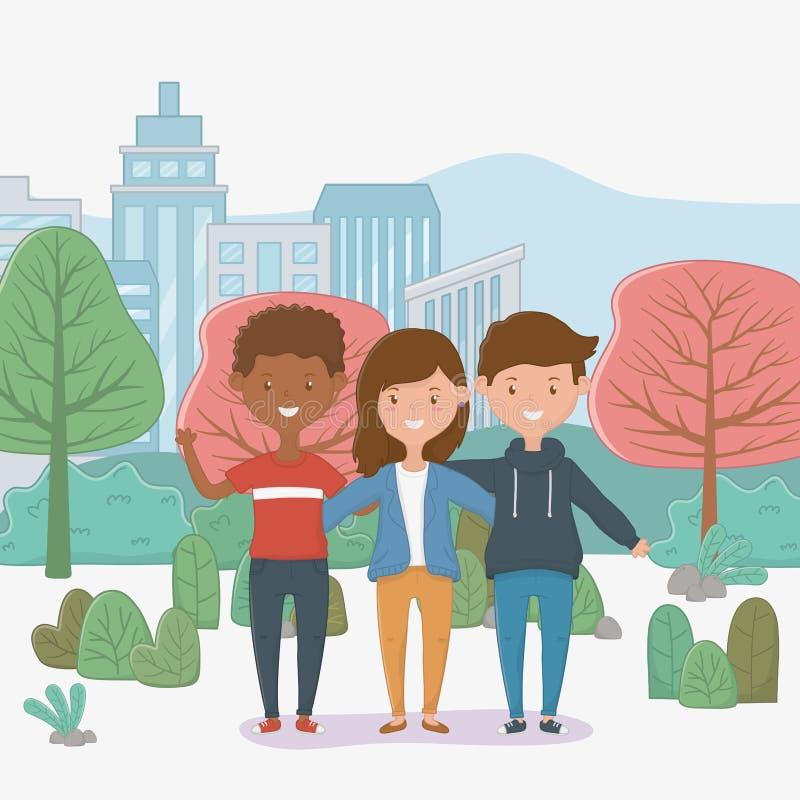 Progettazione di amicizia dei ragazzi e della ragazza royalty illustrazione gratis
