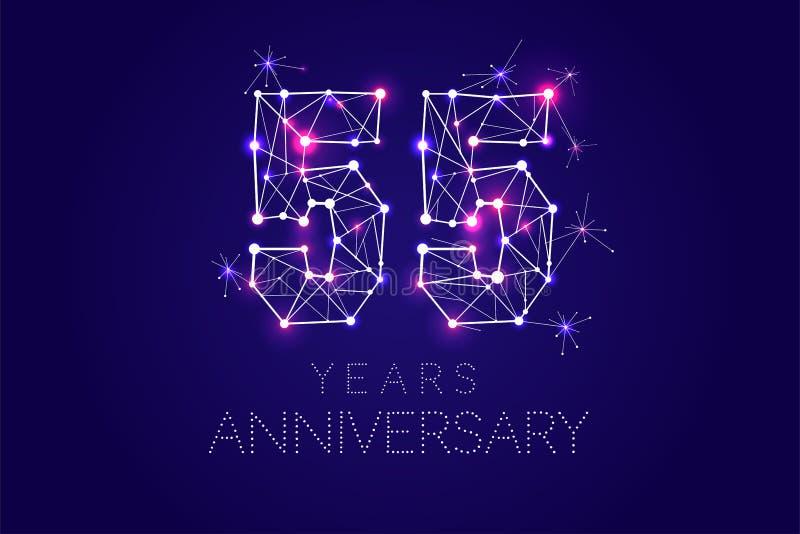 Progettazione di anniversario Forma astratta con le linee e la luce collegate royalty illustrazione gratis