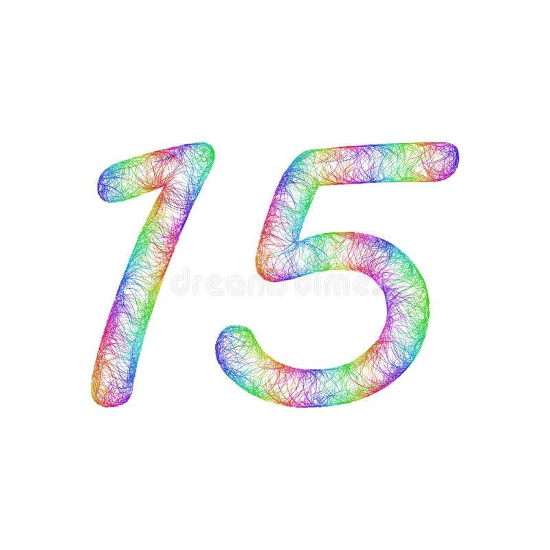 Progettazione di anniversario di schizzo dell'arcobaleno - numero 15 royalty illustrazione gratis
