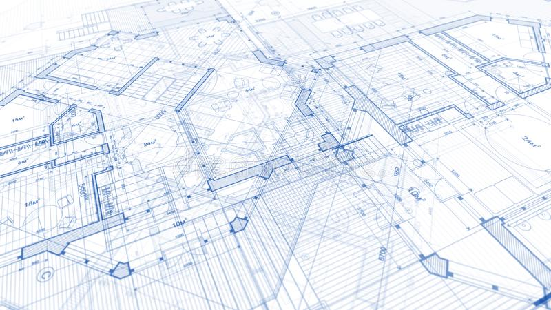 Progettazione di architettura: piano del modello - illustrazione di un piano fotografie stock