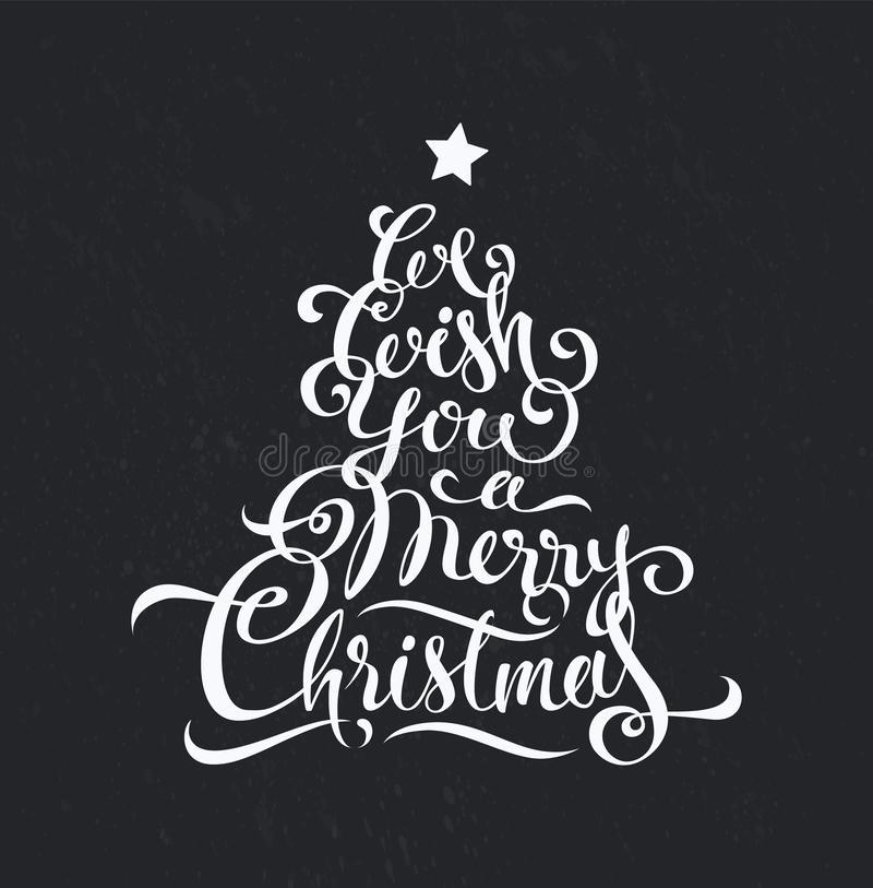 Progettazione di arte del testo di vettore di calligrafia di Buon Natale illustrazione di stock