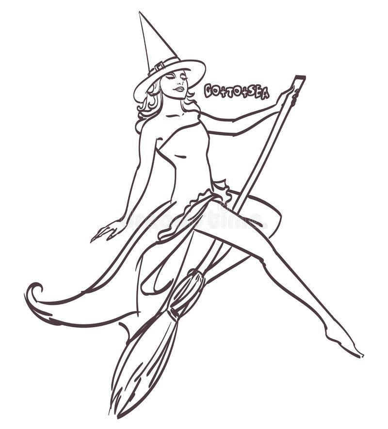 Progettazione di arte di Halloween Strega sexy su un'arte di vettore del manico di scopa, ENV 10 royalty illustrazione gratis