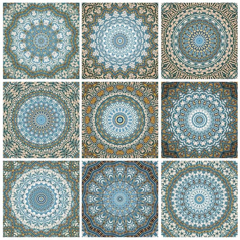 Progettazione di arte di Digital, modello con le mattonelle viste attraverso kaleidosco illustrazione vettoriale