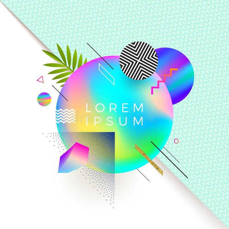 Progettazione di Astract con l'insegna multicolore di pendenza per testo o messaggio e forme geometriche, lineari e di stipple di illustrazione di stock