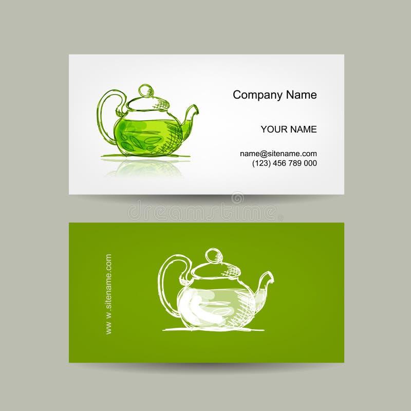 Progettazione di biglietti da visita, schizzo verde di trea illustrazione di stock