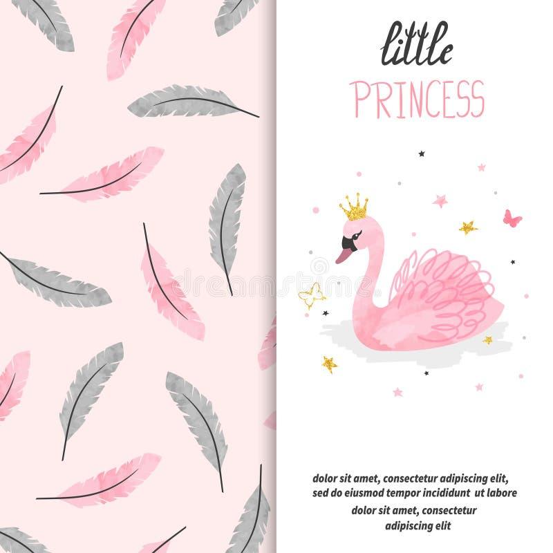 Progettazione di biglietto di auguri per il compleanno per la bambina Illustrazione di vettore del cigno sveglio di principessa illustrazione di stock