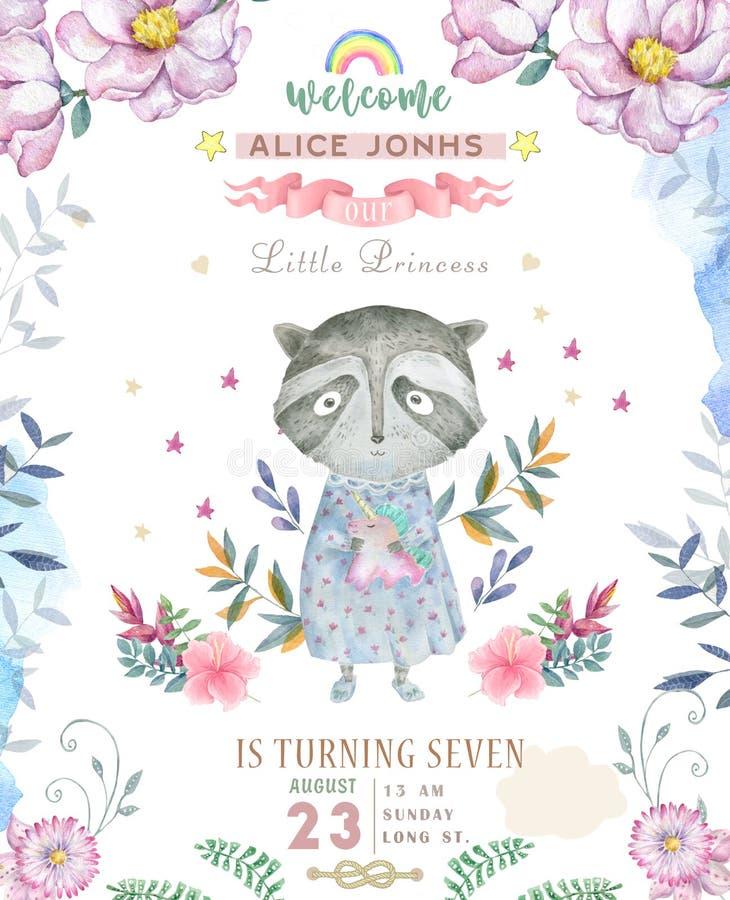 Progettazione di biglietto di auguri per il compleanno di saluto con il procione sveglio Illustrazione dell'acquerello Fiori rosa royalty illustrazione gratis