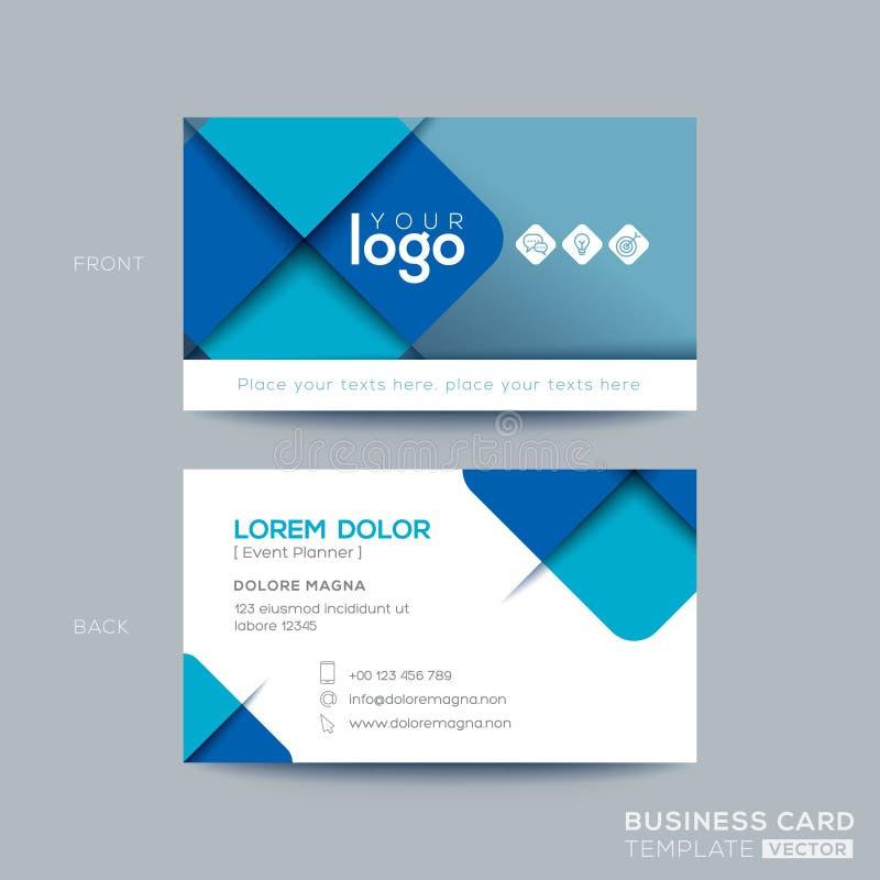 Progettazione di biglietto da visita blu pulita e semplice illustrazione di stock