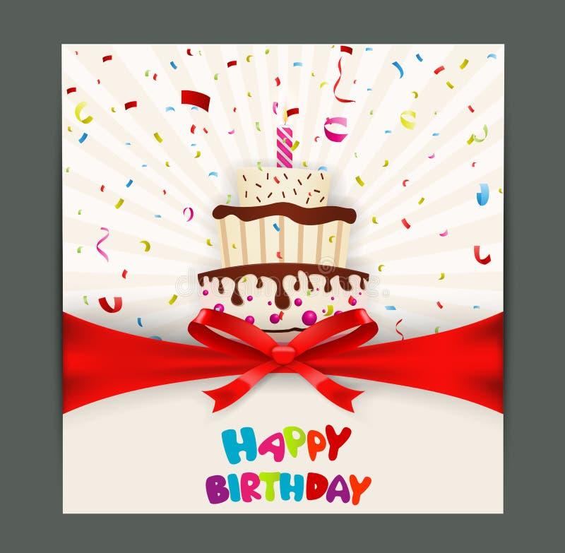 Progettazione di biglietto di auguri per il compleanno con il dolce royalty illustrazione gratis
