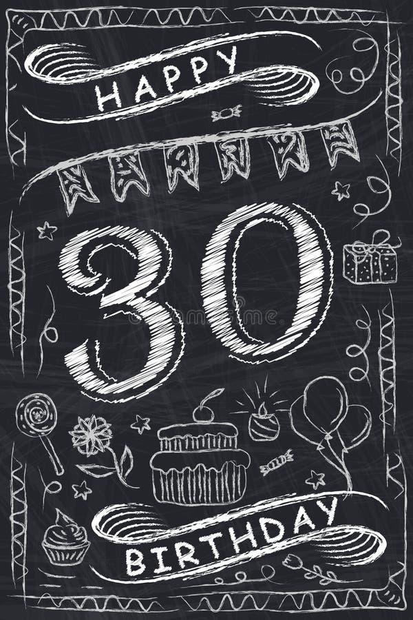 Progettazione di biglietto di auguri per il compleanno felice di anniversario sulla lavagna illustrazione di stock