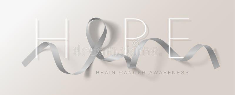 Progettazione di Brain Cancer Awareness Calligraphy Poster Speranza Grey Ribbon realistico : Vettore illustrazione di stock
