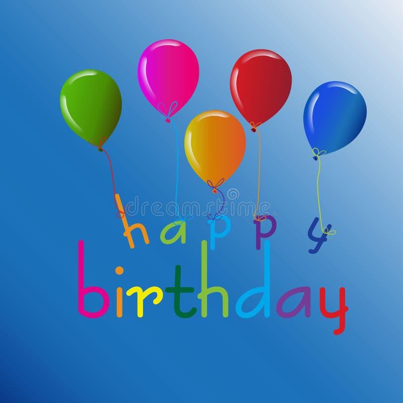 Progettazione di buon compleanno con i palloni nei colori vivi per la cartolina d'auguri, modello dell'insegna illustrazione di stock