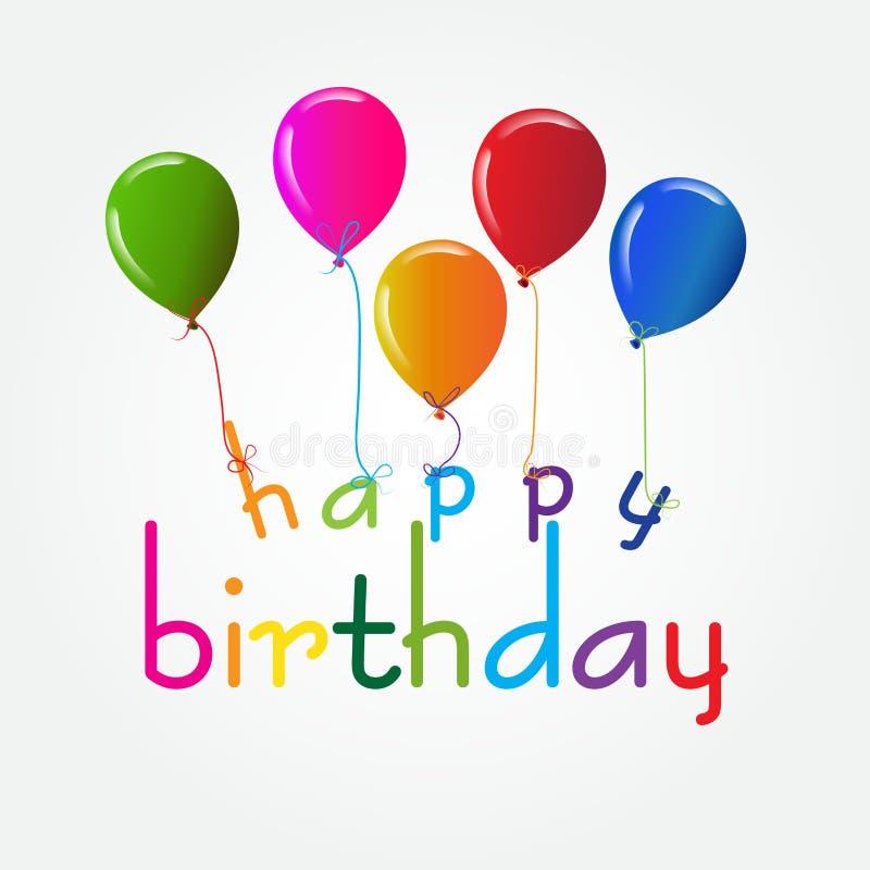 Progettazione di buon compleanno con i palloni nei colori vivi per la cartolina d'auguri, modello dell'insegna illustrazione vettoriale