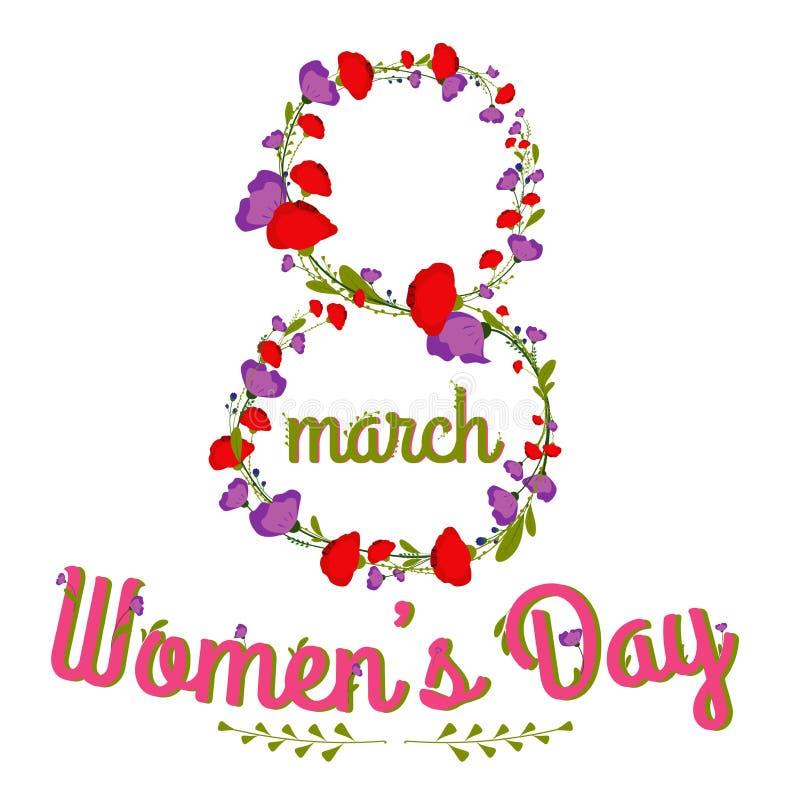 Progettazione di calligrafia del testo di giorno di Woman's con l'illustrazione di vettore dei fiori 8 marzo cartolina d'auguri illustrazione di stock