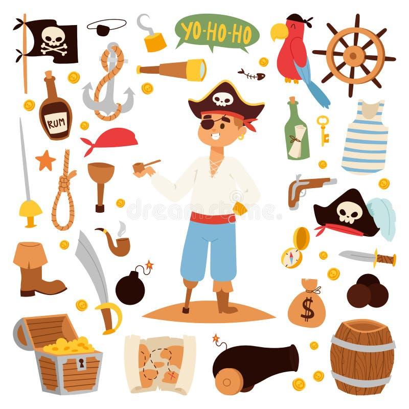 Progettazione di carattere del pirata con le icone di vettore illustrazione di stock