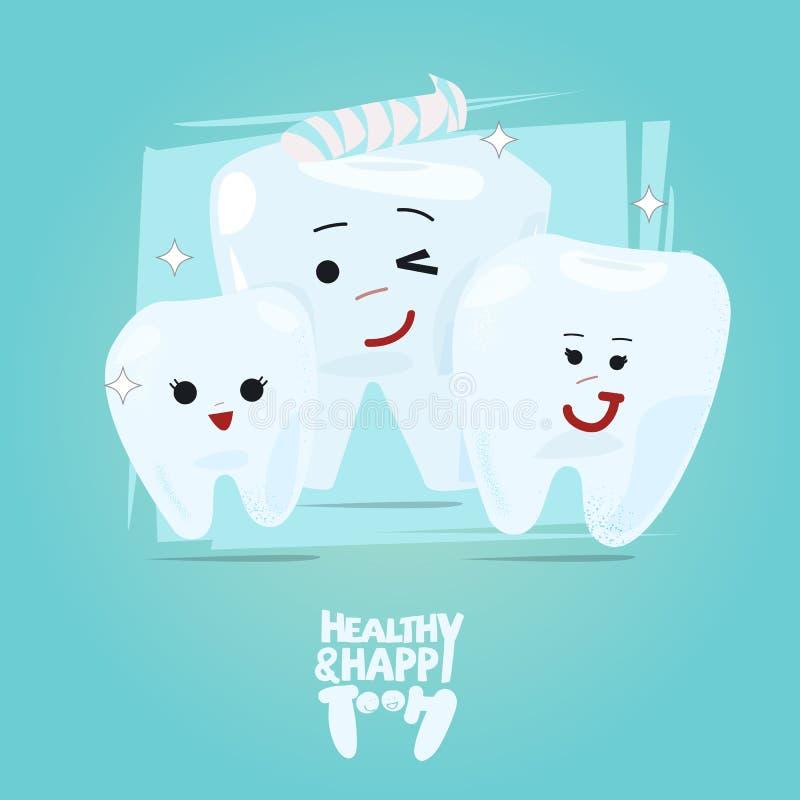 Progettazione di carattere felice della famiglia del dente, concetto sano del dente illustrazione di stock