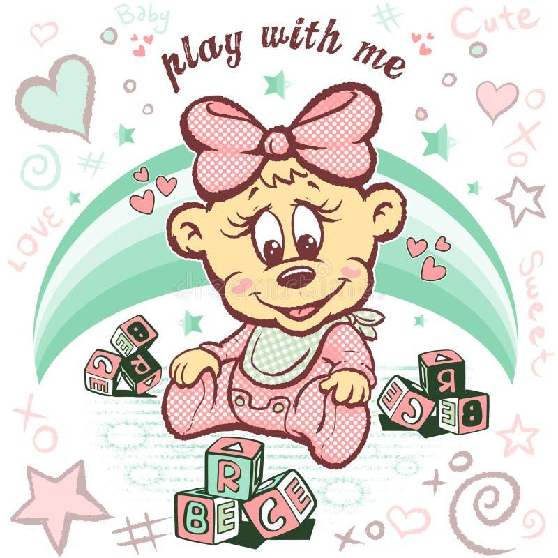 Progettazione di carattere sveglia dell'orso del bambino illustrazione vettoriale