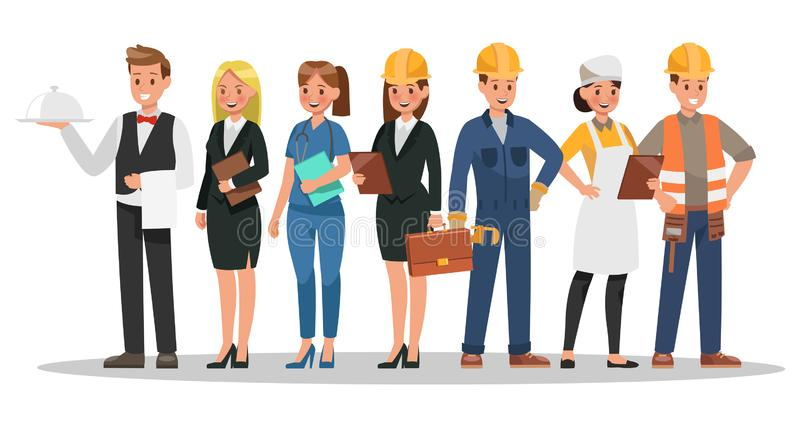 Progettazione di caratteri di carriera Includa il cameriere, la donna di affari, l'ingegnere, medico illustrazione vettoriale
