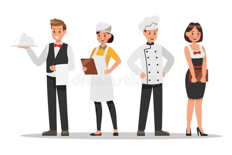 Progettazione di caratteri del personale del ristorante Includa il cuoco unico, gli assistenti, il responsabile, cameriera di bar illustrazione di stock