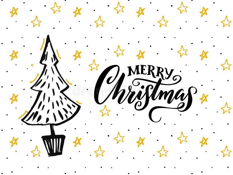 Progettazione di carta di Buon Natale con il titolo disegnato a mano di calligrafia e dell'albero Fondo bianco con le stelle gial illustrazione vettoriale