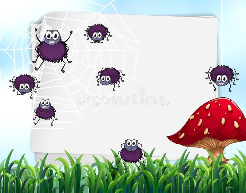 Progettazione di carta con i ragni sul web illustrazione di stock