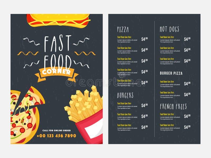 Progettazione di carta del menu degli alimenti a rapida preparazione con la parte anteriore e la vista posteriore della pagina royalty illustrazione gratis