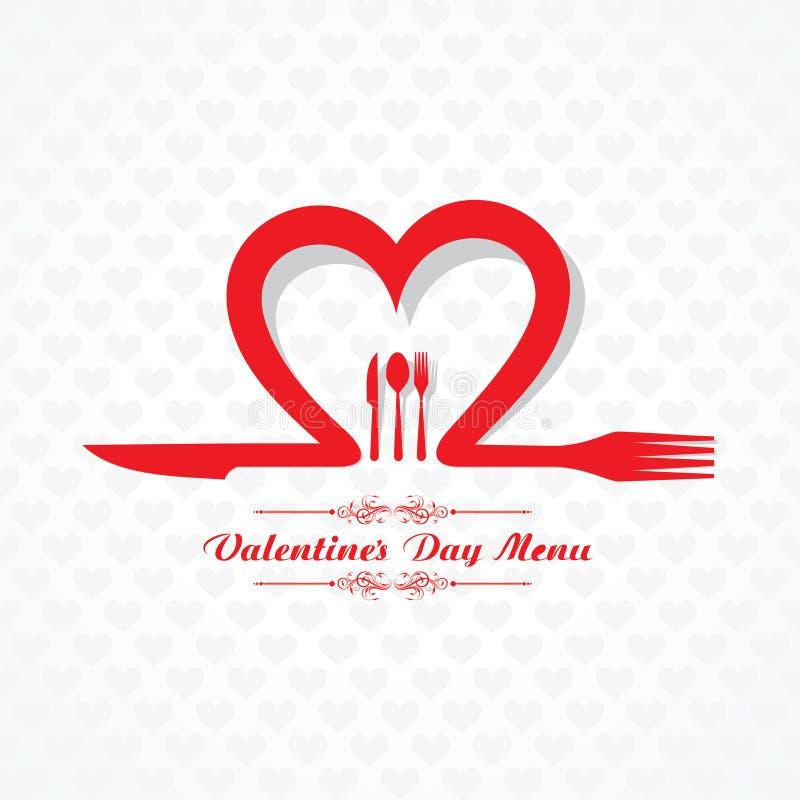 Progettazione di carta del menu del ristorante di giorno di S. Valentino royalty illustrazione gratis
