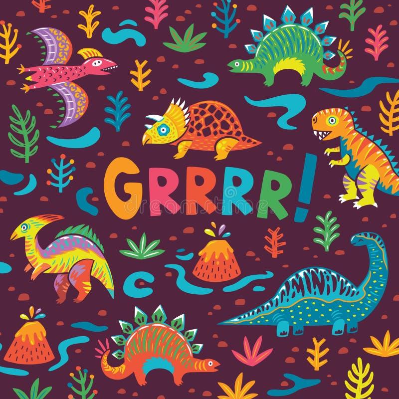 Progettazione di carta del partito dei dinosauri Illustrazione di vettore illustrazione di stock